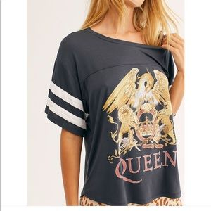 Free People WHITE queen tshirt